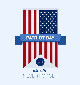 9.11 Patriot Day with USA flag design template vector