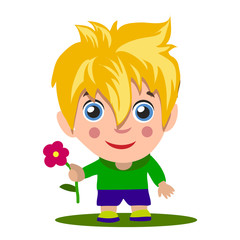 Cartoon boy giving you thumbs up. Blonde with blue eyes,