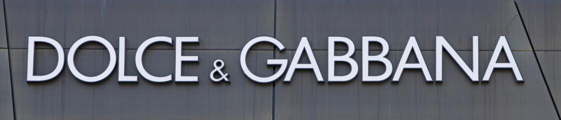 The Dolce & Gabbana logo is seen on an outlet store in Metzingen