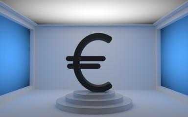 Black Euro currency symbol 3D