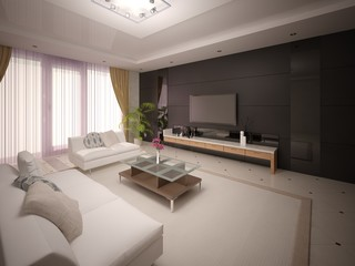 Modern stylish living room with comfortable furniture and dark fashionable background.