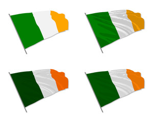 Vector illustration of waving Ireland flag with different 3d effects