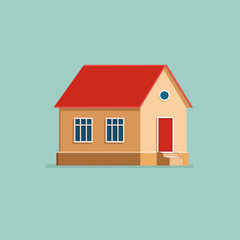 Graphic Decorative house. Landscape in a minimalist style against. Buying, selling a hut. Flat Vector illustration.