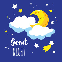 Cute cartoon crescent and clouds in the night sky. Handwriting inscription Good night. Vector illustration is suitable for greeting cards and prints on t-shirts.