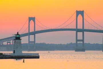 A sunset over the Newport Bridge in Newport, Rhode Island