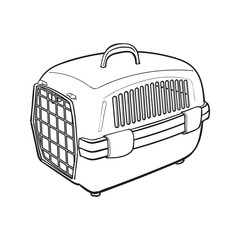 Plastic pet travel carrier for transporting cats, dogs, sketch style vector illustration isolated on white background. Hand drawn plastic pet carrier, transport, housing on white background