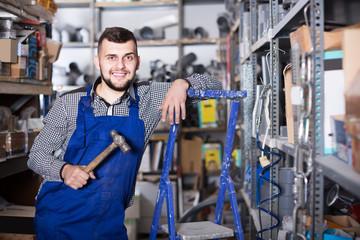 Worker standing in his workshop
