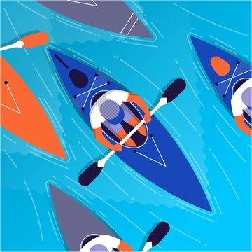 people kayaking