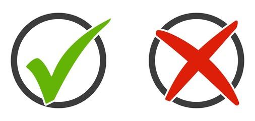 2 Icons Häkchen und X im Kreis