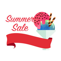Colorful watercolor texture vector popsicle summer sale promotion banner title template