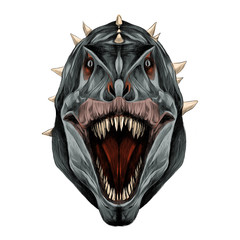 the dinosaur head is symmetrical looks right with an open mouth, grey skin color, sketch vector graphics color picture