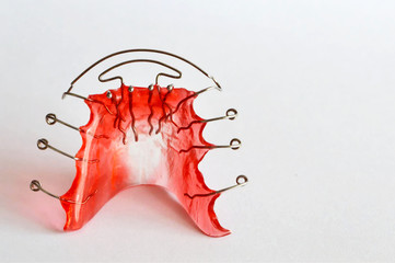 Dental retainer on light background