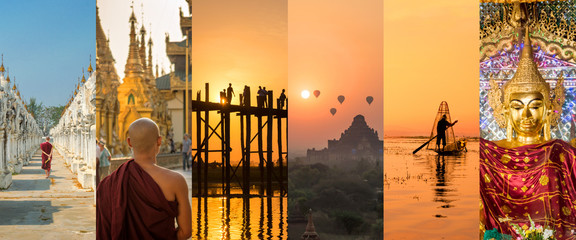 Burma (Myanmar), panoramic photo collage, burmese symbols, Burma travel and tourism concept