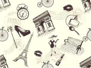 vintage seamless pattern of Paris theme