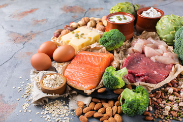 Foto auf Gartenposter Sortiment Assortment of healthy protein source and body building food