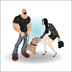 Bearded bodybuilder with his bulldog pet met a buisness girl with case in black suit - handdrawn vector illustration