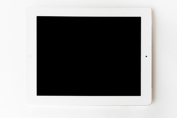 White tablet computer isolated on white background