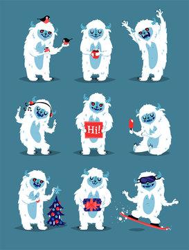 Cute Yeti Abominable Snowman, Bigfoot Sasquatch bigfoot monsters character like people vector set.