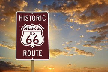 Photo on textile frame Route 66 Historic Oklahoma Route 66 Brown Sign with Sunset