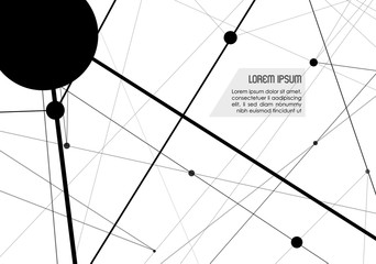Vector abstract background with black dots and lines