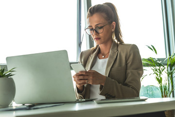Woman Typing Phone Message