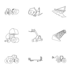 Set of pictures about agricultural machinery. Cars to robots to the ground.Agricultural Machinery icon in set collection on outline style vector symbol stock illustration.