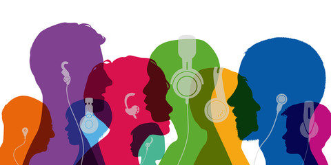 casque audio - musique - écouter - tête - son - profil - jeune - silhouette