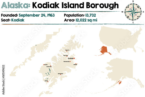 Kodiak Island Alaska Map.Large And Detailed Map Of Kodiak Island Borough In Alaska Stock