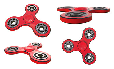Set fidget spinner stress relieving toy red on white backgrond. 3d illustration.