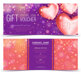Gift voucher template with red hearts 150. Concept for gift coupon, banner, flyer, invitation ticket. Two side of discount voucher or gift certificate layout.