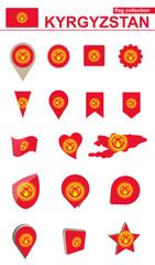 Kyrgyzstan Flag Collection. Big set for design.