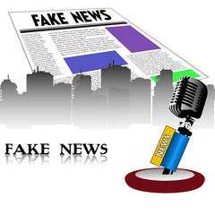 Colorful background with an old microphone, newspaper with the fake news title written on its first page. Fake news concept