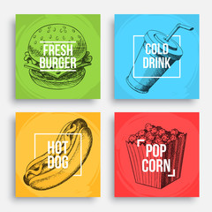 Cool fastfood posters. Hand-drawn sketches composition. Eps10 vector.