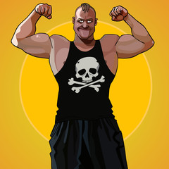 cartoon big muscular man standing in the pose of a bodybuilder