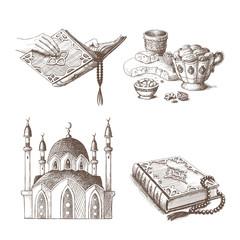 Muslim holidays sketch illustrations. Eps10 vector.