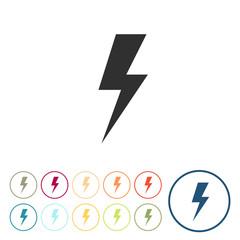 Runde Schaltflächen - Strom - Blitz