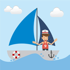 Young Man on Boat in the Sea. Concept Travel Vector Illustration Flat Style.