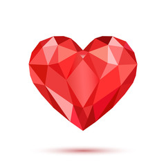 Polygonal red heart on white background