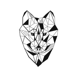 Wolf stylized triangle polygonal model