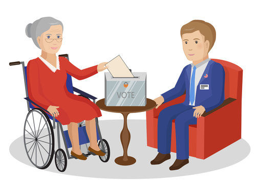 Woman in wheelchair votes at ballot box. Vector Illustration