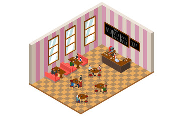 Isometric Design of a Cafe or Restaurant