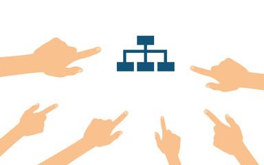 Hände zeigen auf - Stammbaum Diagramm