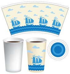 Vector template paper Cup for hot drinks with sailing ships in the sea and the clouds in the sky
