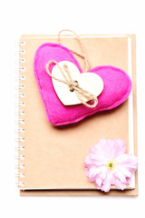 Heart and notebook