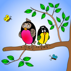 cute cartoon bullfinch and titmouse bird sitting on a tree branch and two little butterflies