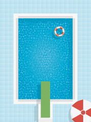 Swimming pool with lifesaver, parasol and springboard, top view
