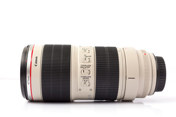 Udon Thani - May 25, 2017 -Canon EF 70-200mm f/2.8L IS II USM is a telephoto zoom lens made by Canon Inc. The lens has an EF mount to work with the EOS line of cameras.