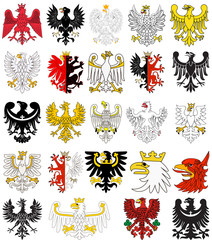 Set of heraldic eagles of Poland