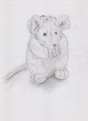 Мягкая игрушка мышка, нарисованная карандашом