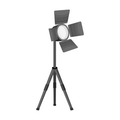 Searchlight for cinema.Making movie single icon in monochrome style vector symbol stock illustration web.